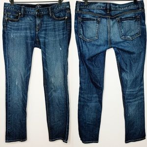 LOFT Distressed Modern Slim Dark Wash Jeans
